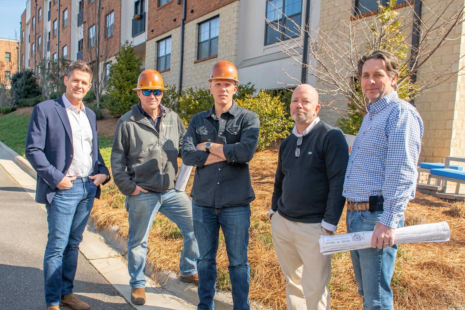 evolve construction team in hard hats