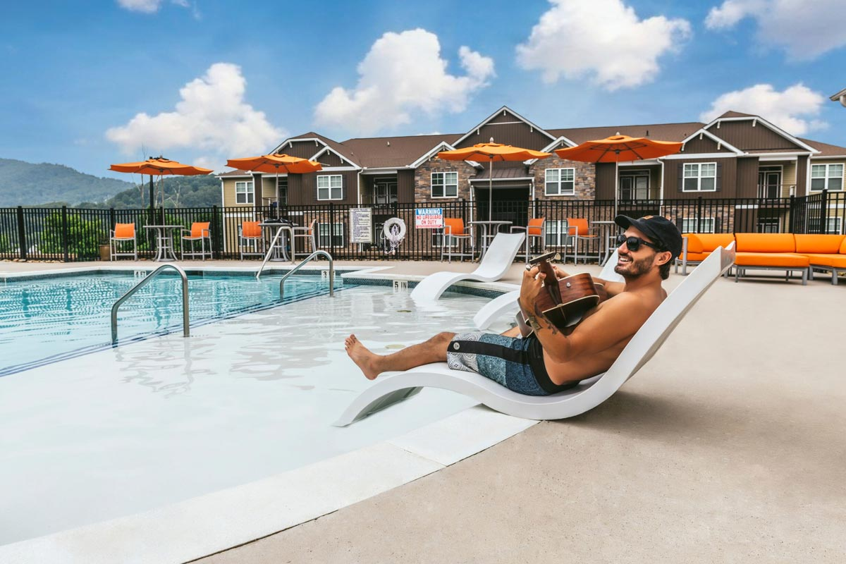 Evolve Companies Mountain View Apartments Asheville Pool Music