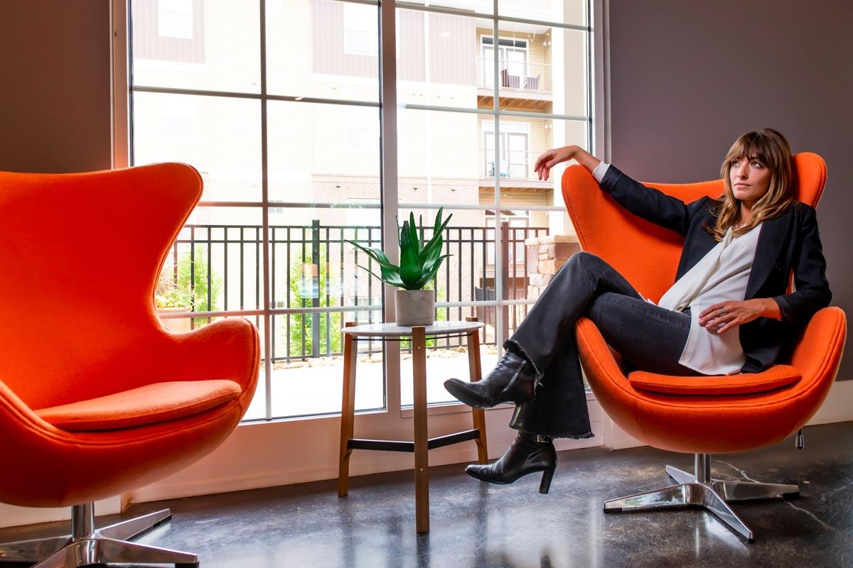 Evolve Companies Mountain View Apartments Asheville Orange Chair