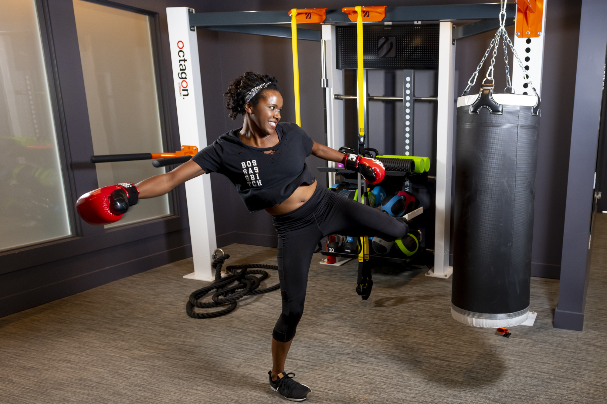 girl kickboxing at evolve fitness center new workout