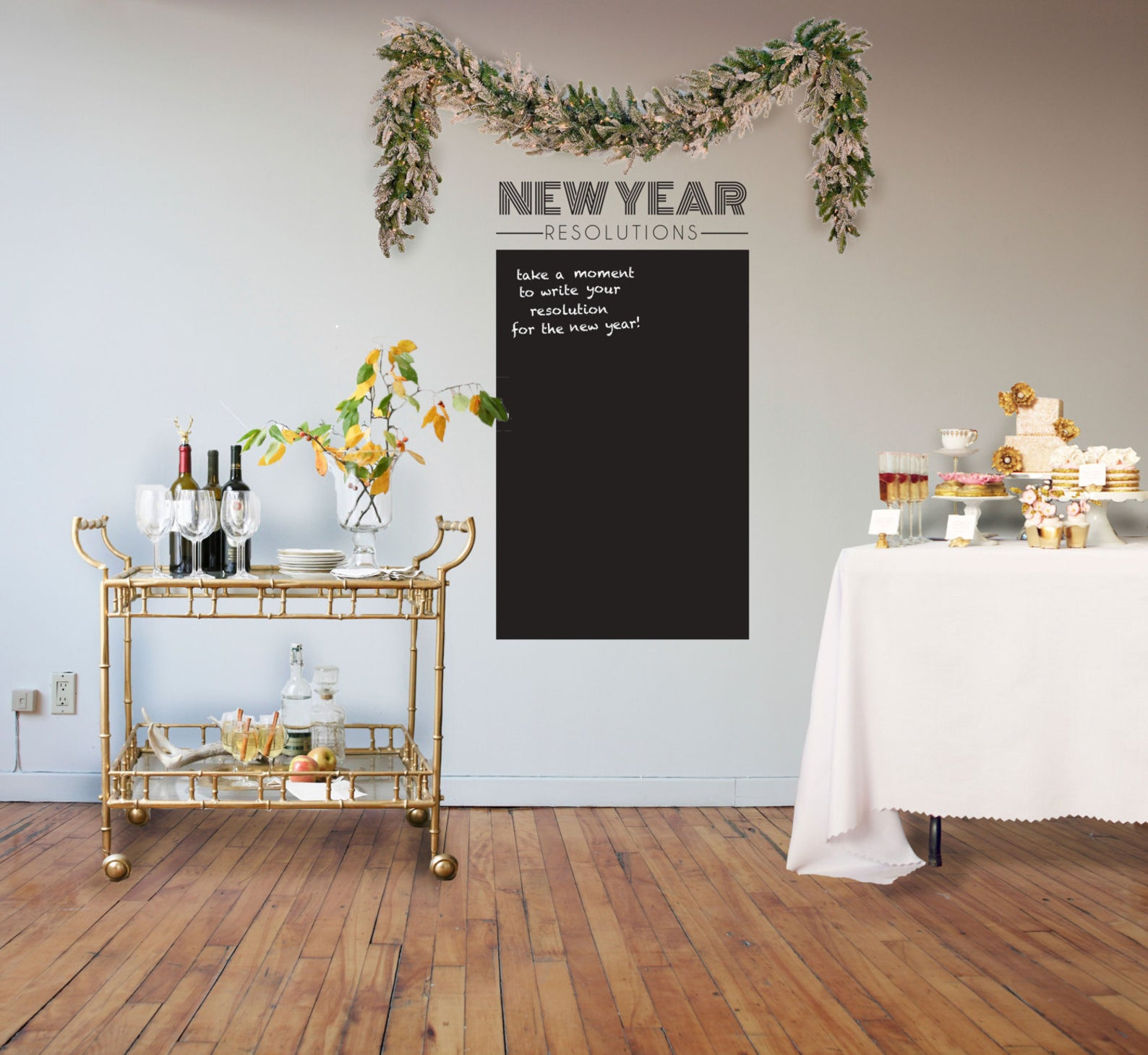 7 nye party decoration ideas resolutions chalkboard