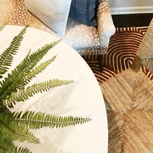 apartment houseplants faux palm fronds table