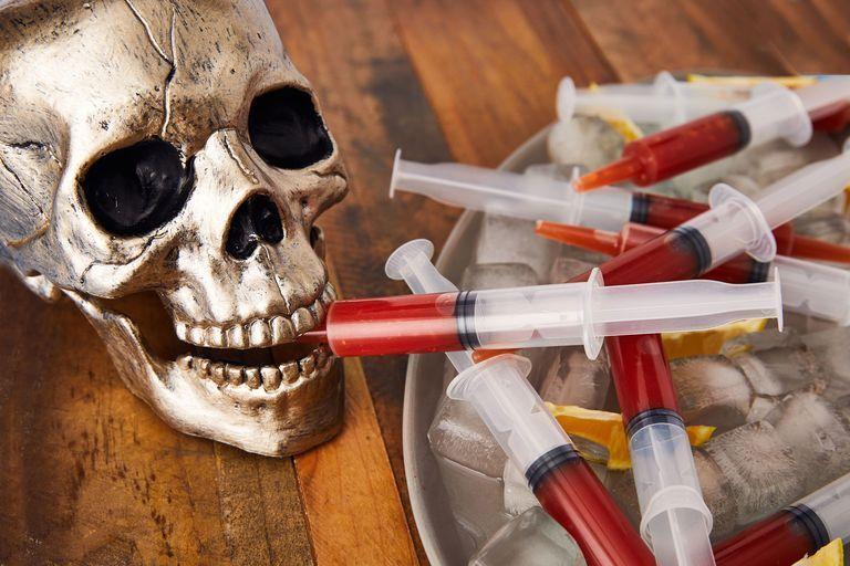 bloody mary syringes next to halloween skull evolve blog