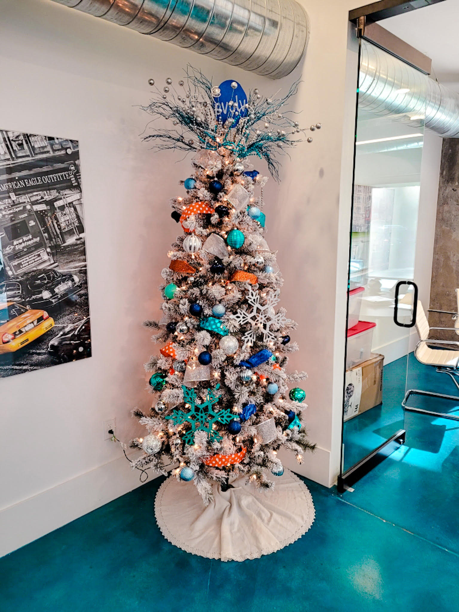blue and orange and white christmas tree evolve