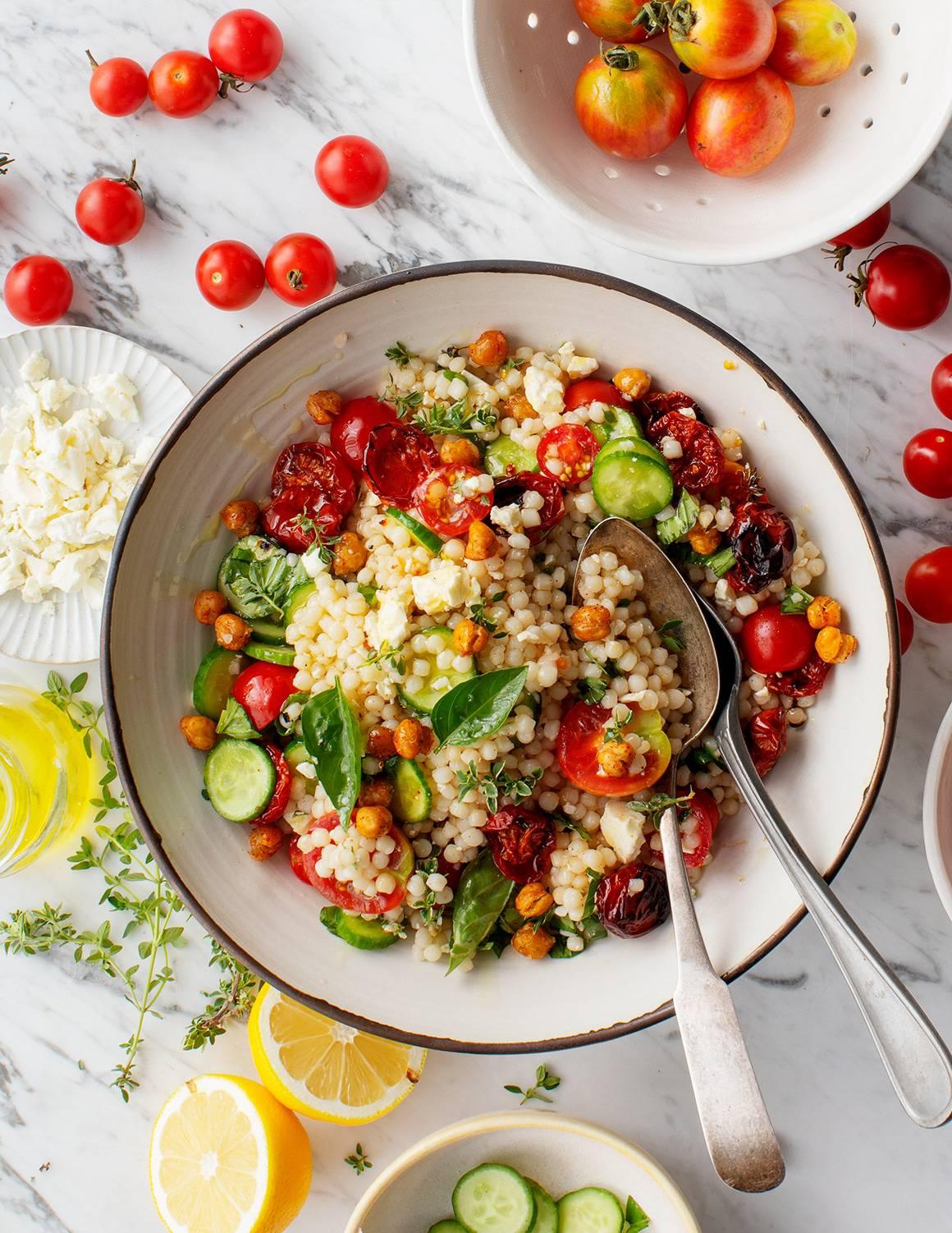 cherry tomato couscous salad evolve summer recipes blog