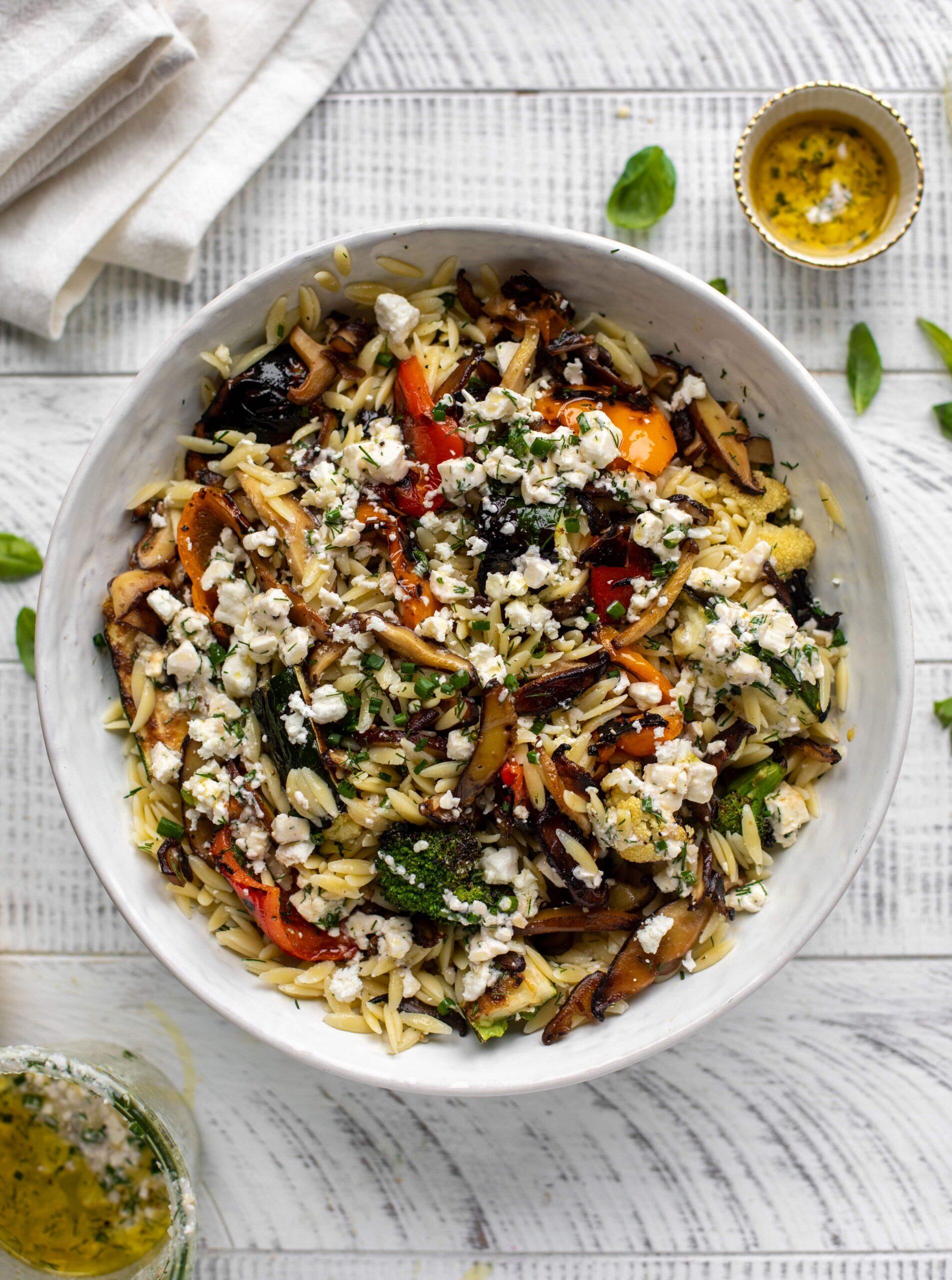 grilled vegetable orzo evolve summer recipe blog