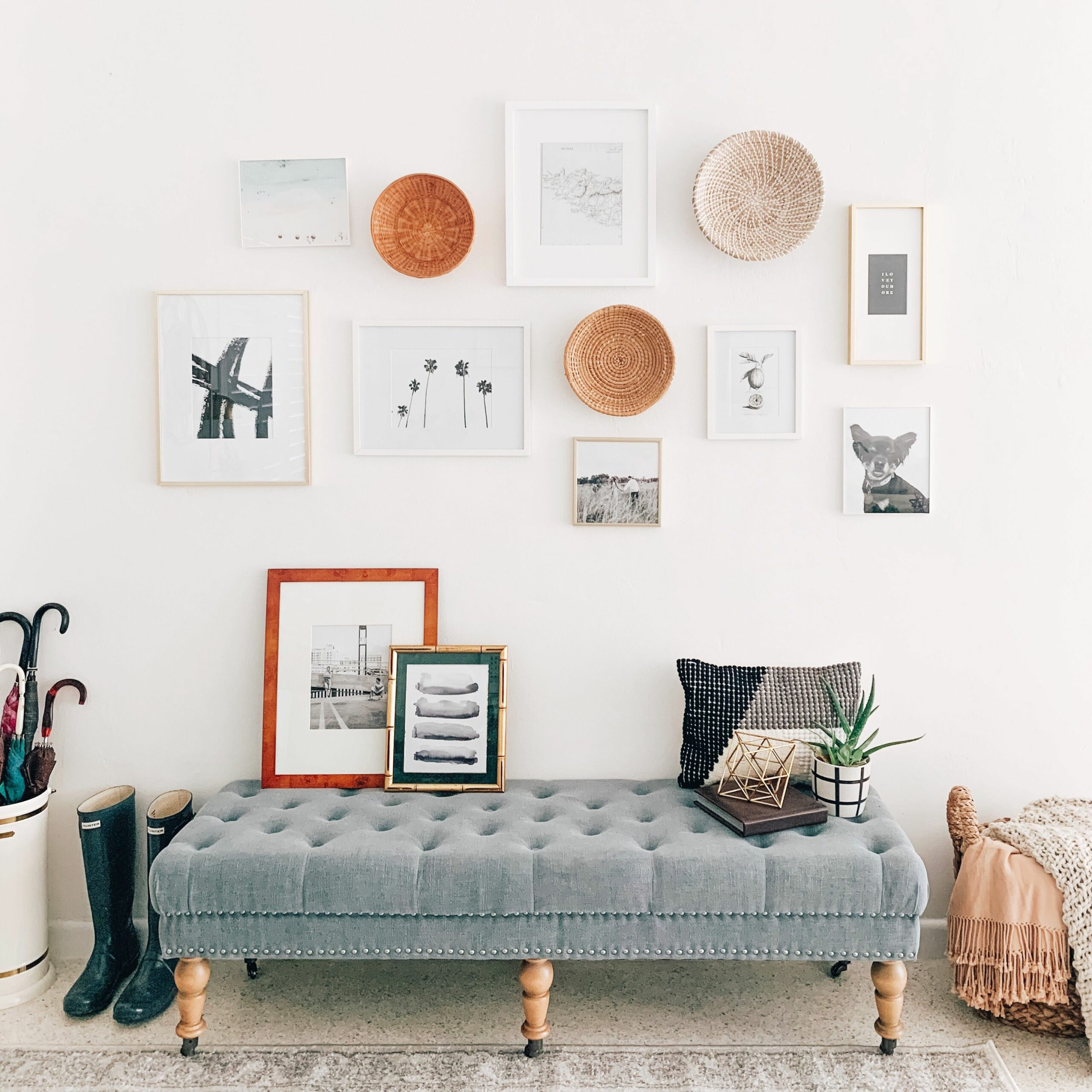 basket gallery wall evolve blog fall decor