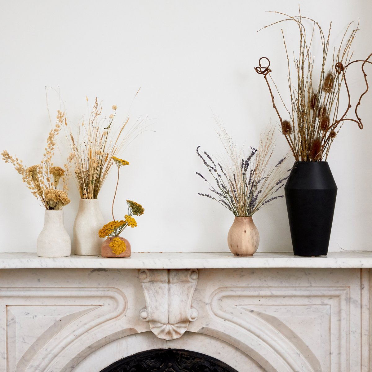 dried arrangements on fireplace fall decor evolve blog