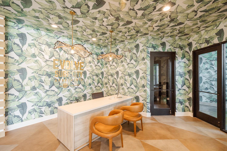 evolve surf city leaf wallpaper leasing office ceiling paint blog